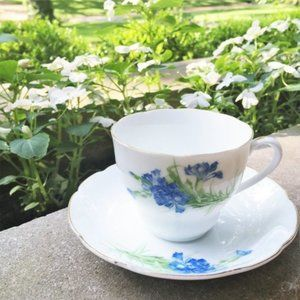 Blue Carnation Floral Fine China Teacup